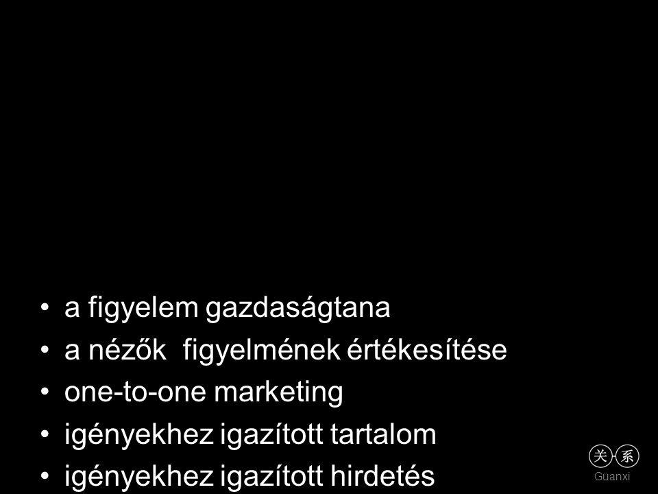 Güanxi a figyelem gazdaságtana a nézők figyelmének értékesítése one-to-one marketing igényekhez igazított tartalom igényekhez igazított hirdetés