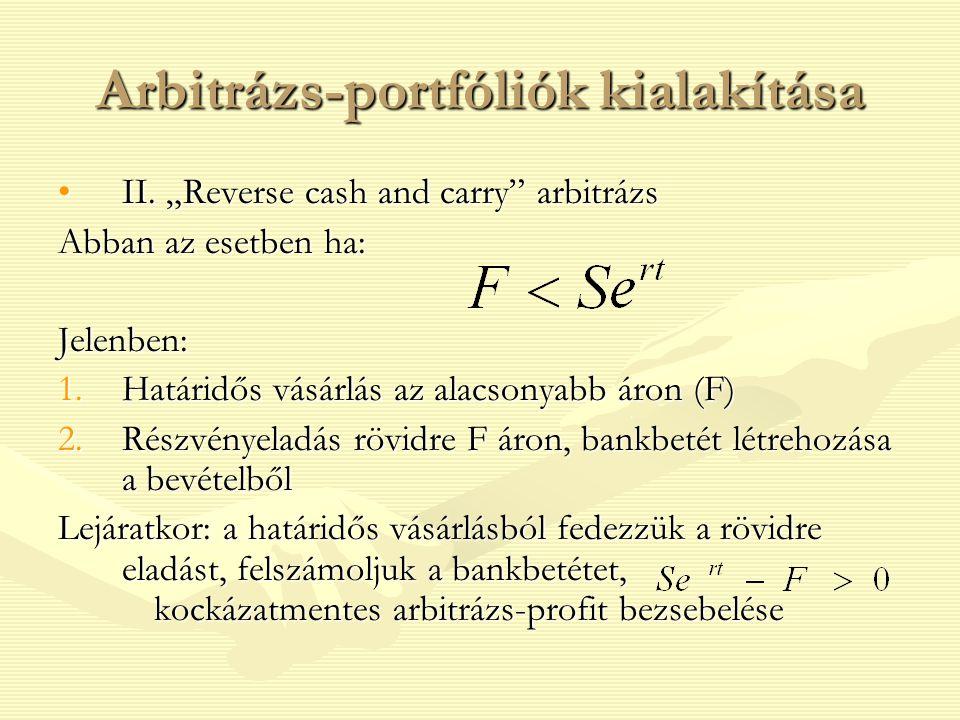 """II. """"Reverse cash and carry"""" arbitrázsII. """"Reverse cash and carry"""" arbitrázs Abban az esetben ha: Jelenben: 1.Határidős vásárlás az alacsonyabb áron ("""