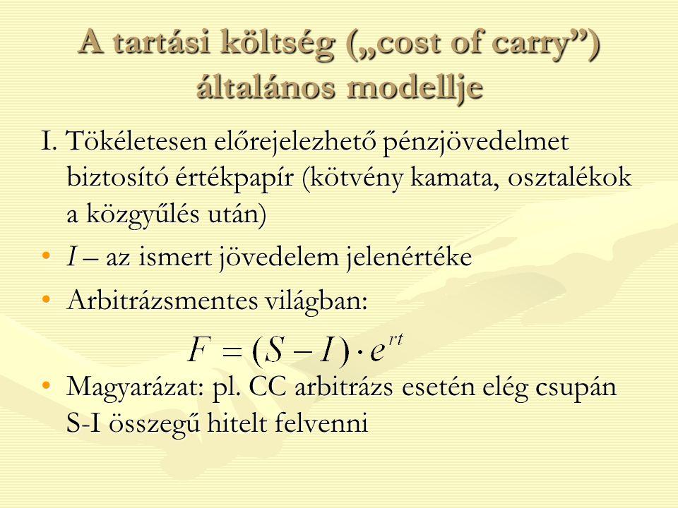 """A tartási költség (""""cost of carry"""") általános modellje I. Tökéletesen előrejelezhető pénzjövedelmet biztosító értékpapír (kötvény kamata, osztalékok a"""
