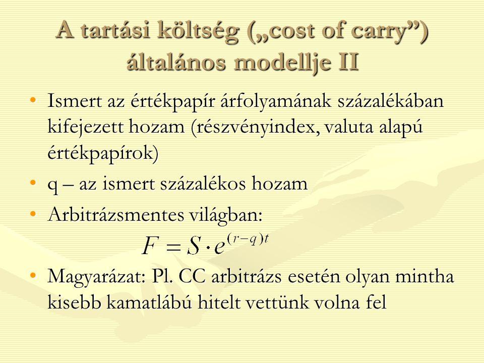 """A tartási költség (""""cost of carry"""") általános modellje II Ismert az értékpapír árfolyamának százalékában kifejezett hozam (részvényindex, valuta alapú"""