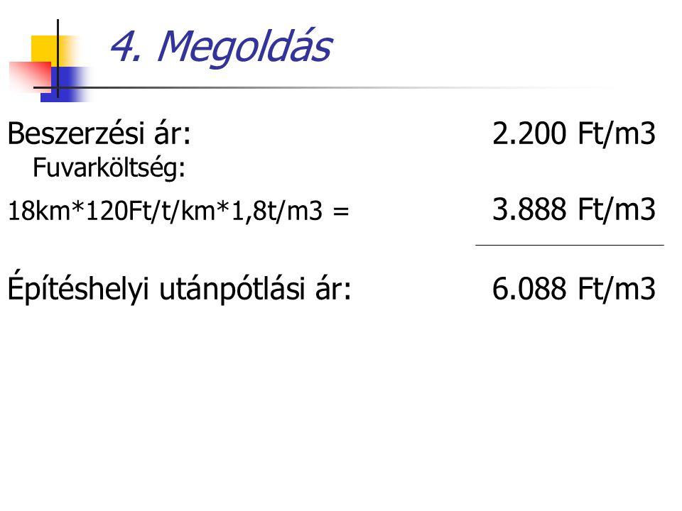 4. Megoldás Beszerzési ár:2.200 Ft/m3 Fuvarköltség: 18km*120Ft/t/km*1,8t/m3 = 3.888 Ft/m3 Építéshelyi utánpótlási ár: 6.088 Ft/m3