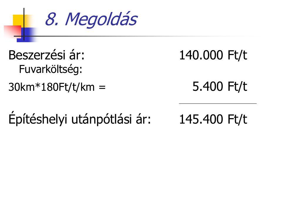 8. Megoldás Beszerzési ár: 140.000 Ft/t Fuvarköltség: 30km*180Ft/t/km = 5.400 Ft/t Építéshelyi utánpótlási ár: 145.400 Ft/t