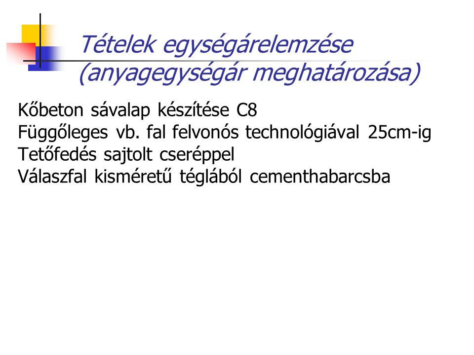 Tételek egységárelemzése (anyagegységár meghatározása) Kőbeton sávalap készítése C8 Függőleges vb. fal felvonós technológiával 25cm-ig Tetőfedés sajto