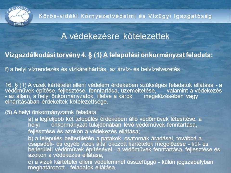 Vízgazdálkodási törvény 4. § (1) A települési önkormányzat feladata: f) a helyi vízrendezés és vízkárelhárítás, az árvíz- és belvízelvezetés. 16. § (1
