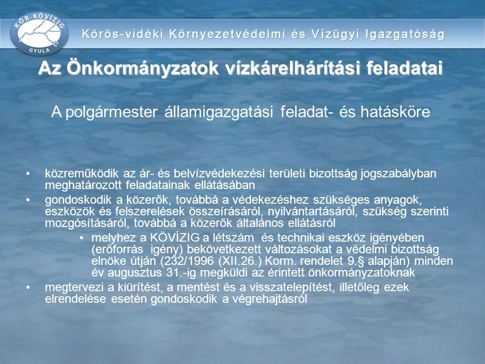 közreműködik az ár- és belvízvédekezési területi bizottság jogszabályban meghatározott feladatainak ellátásában gondoskodik a közerők, továbbá a védek