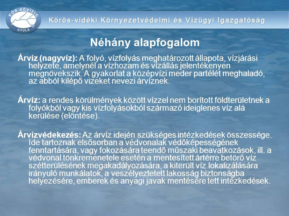 Belvíz: a rendes körülmények között vízzel nem borított földterületnek a talajvízből származó vagy a csapadékvízből összegyülekező víz alá kerülése (elöntése) Belvízvédekezés: az élet- és vagyonbiztonság érdekében, a belvíz kártételeinek megelőzését, elhárítását, illetőleg mérséklését szolgáló műszaki és államigazgatási feladatok végrehajtása Vízkárelhárítás: a károsan sok vagy károsan kevés víz elleni szervezett tevékenység Néhány alapfogalom