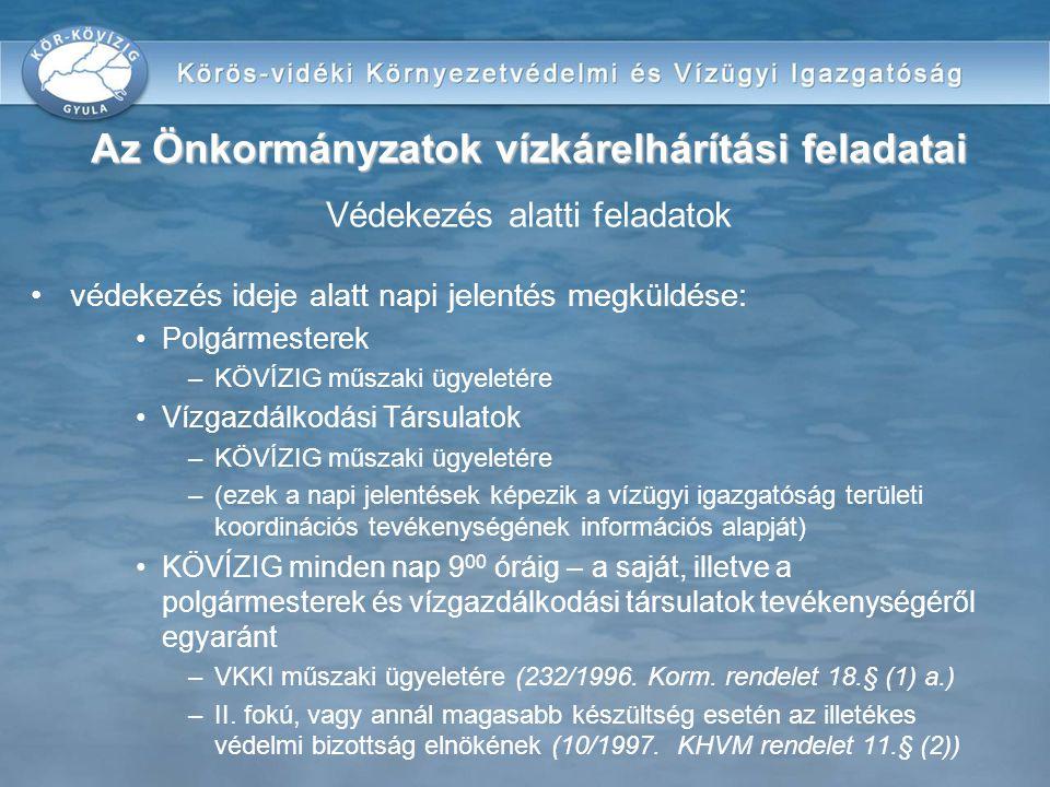 védekezés ideje alatt napi jelentés megküldése: Polgármesterek –KÖVÍZIG műszaki ügyeletére Vízgazdálkodási Társulatok –KÖVÍZIG műszaki ügyeletére –(ez