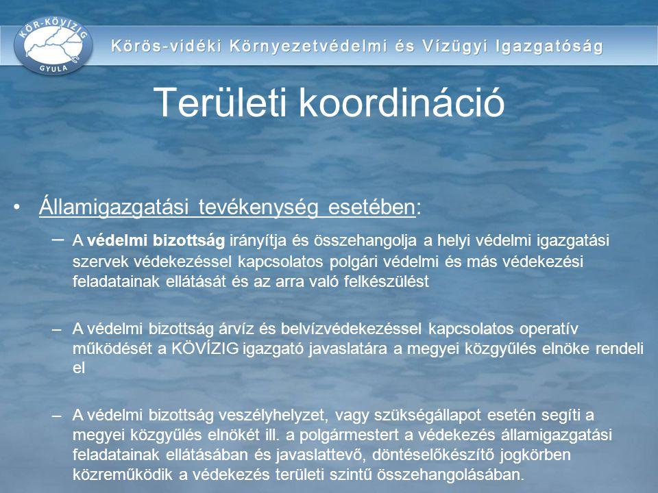 Államigazgatási tevékenység esetében: – A védelmi bizottság irányítja és összehangolja a helyi védelmi igazgatási szervek védekezéssel kapcsolatos pol