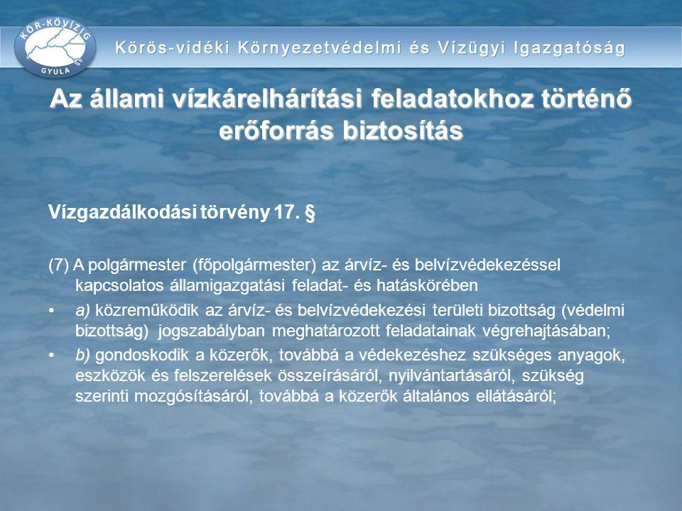 Vízgazdálkodási törvény 17. § (7) A polgármester (főpolgármester) az árvíz- és belvízvédekezéssel kapcsolatos államigazgatási feladat- és hatáskörében