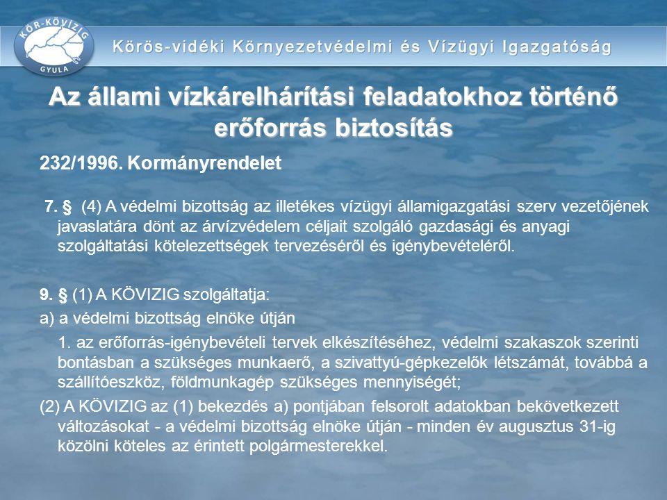 232/1996. Kormányrendelet 7. § (4) A védelmi bizottság az illetékes vízügyi államigazgatási szerv vezetőjének javaslatára dönt az árvízvédelem céljait