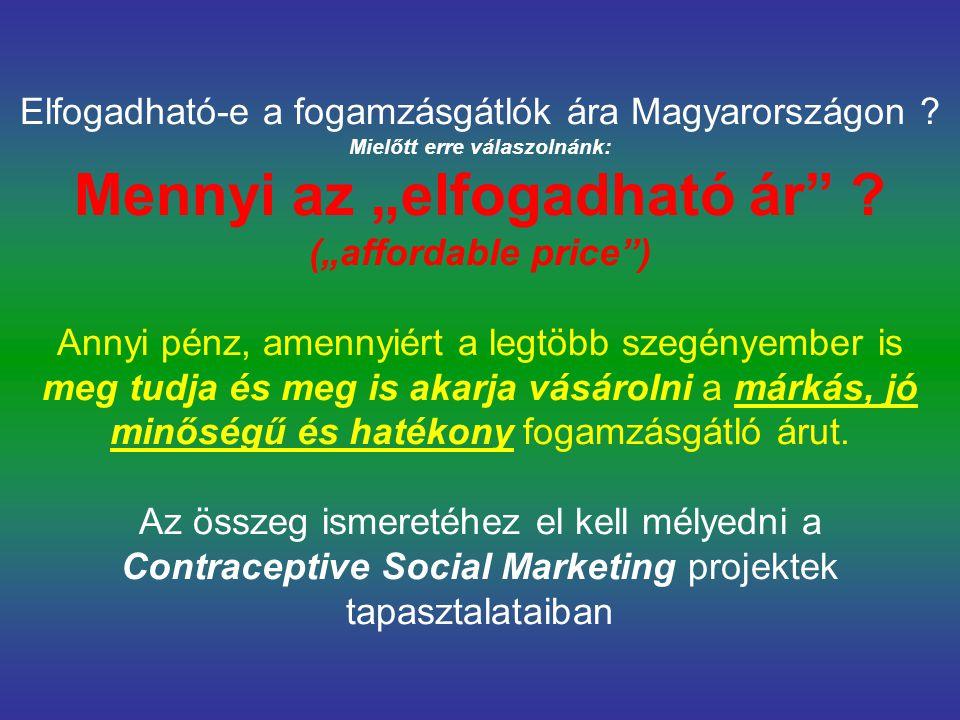 """Elfogadható-e a fogamzásgátlók ára Magyarországon ? Mielőtt erre válaszolnánk: Mennyi az """"elfogadható ár"""" ? (""""affordable price"""") Annyi pénz, amennyiér"""