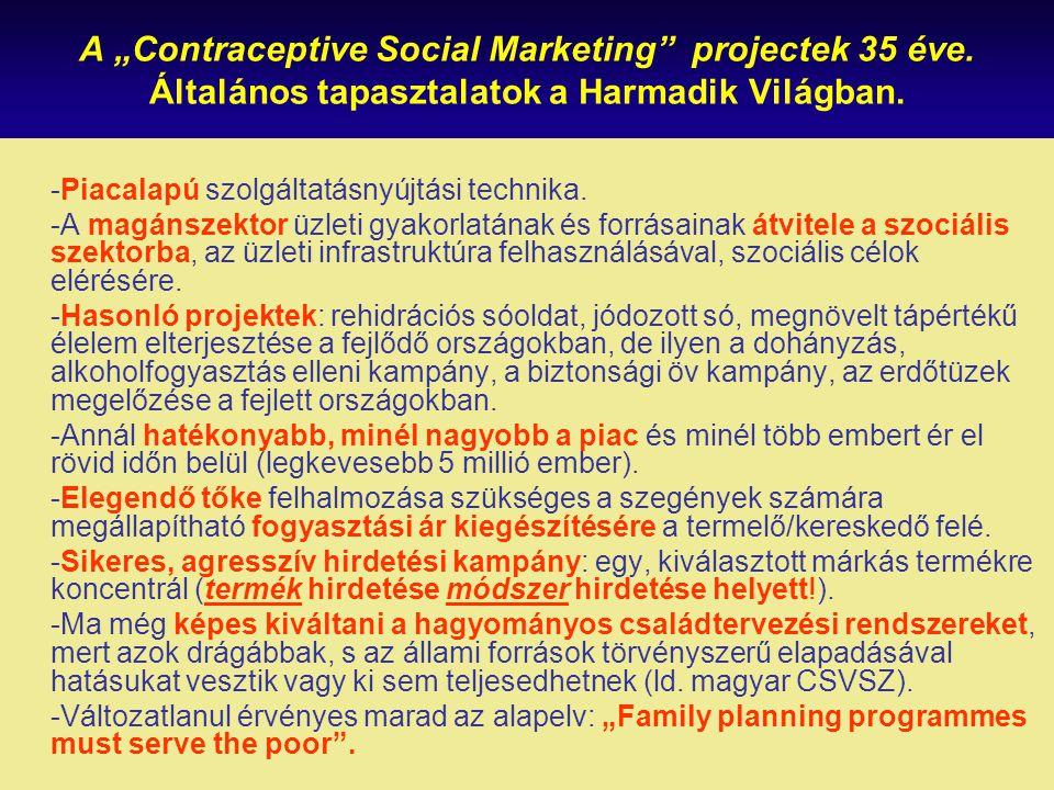 """A """"Contraceptive Social Marketing"""" projectek 35 éve. Általános tapasztalatok a Harmadik Világban. -Piacalapú szolgáltatásnyújtási technika. -A magánsz"""