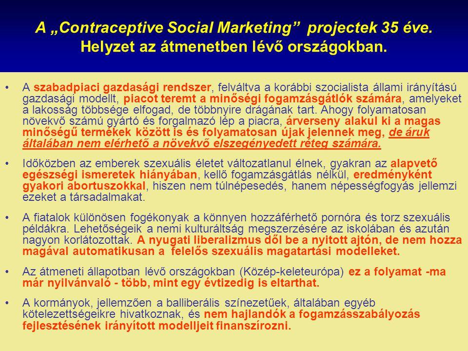 """A """"Contraceptive Social Marketing"""" projectek 35 éve. Helyzet az átmenetben lévő országokban. A szabadpiaci gazdasági rendszer, felváltva a korábbi szo"""