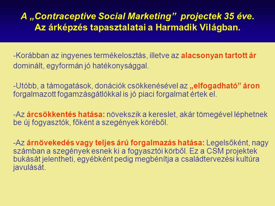 """A """"Contraceptive Social Marketing"""" projectek 35 éve. Az árképzés tapasztalatai a Harmadik Világban. -Korábban az ingyenes termékelosztás, illetve az a"""