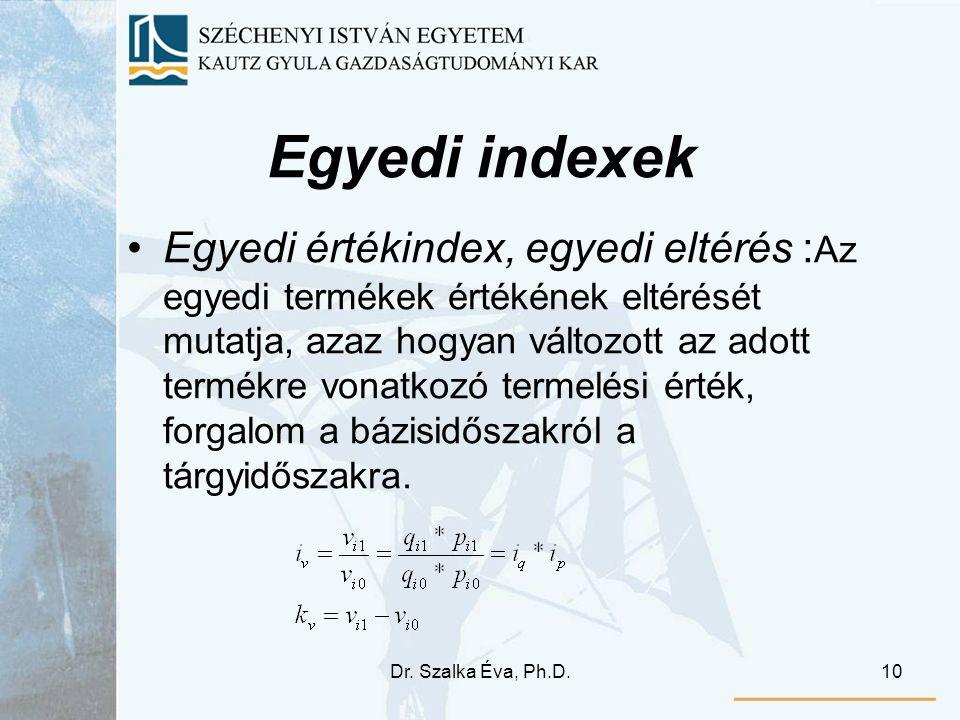 Dr. Szalka Éva, Ph.D.10 Egyedi indexek Egyedi értékindex, egyedi eltérés : Az egyedi termékek értékének eltérését mutatja, azaz hogyan változott az ad