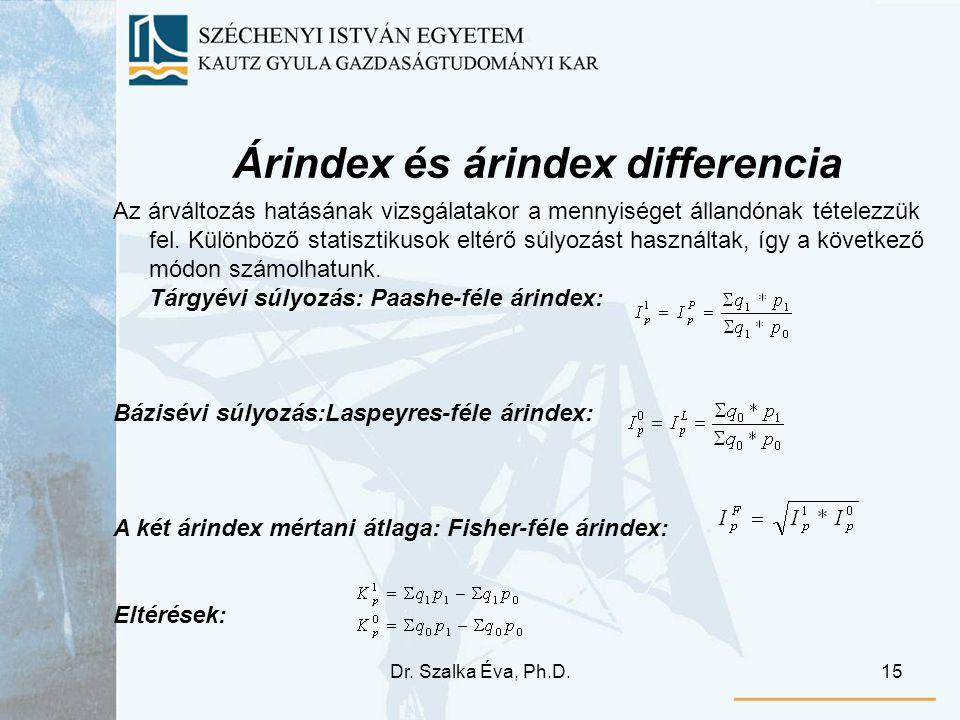 Dr. Szalka Éva, Ph.D.15 Árindex és árindex differencia Az árváltozás hatásának vizsgálatakor a mennyiséget állandónak tételezzük fel. Különböző statis