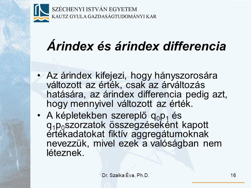 Dr. Szalka Éva, Ph.D.16 Árindex és árindex differencia Az árindex kifejezi, hogy hányszorosára változott az érték, csak az árváltozás hatására, az ári