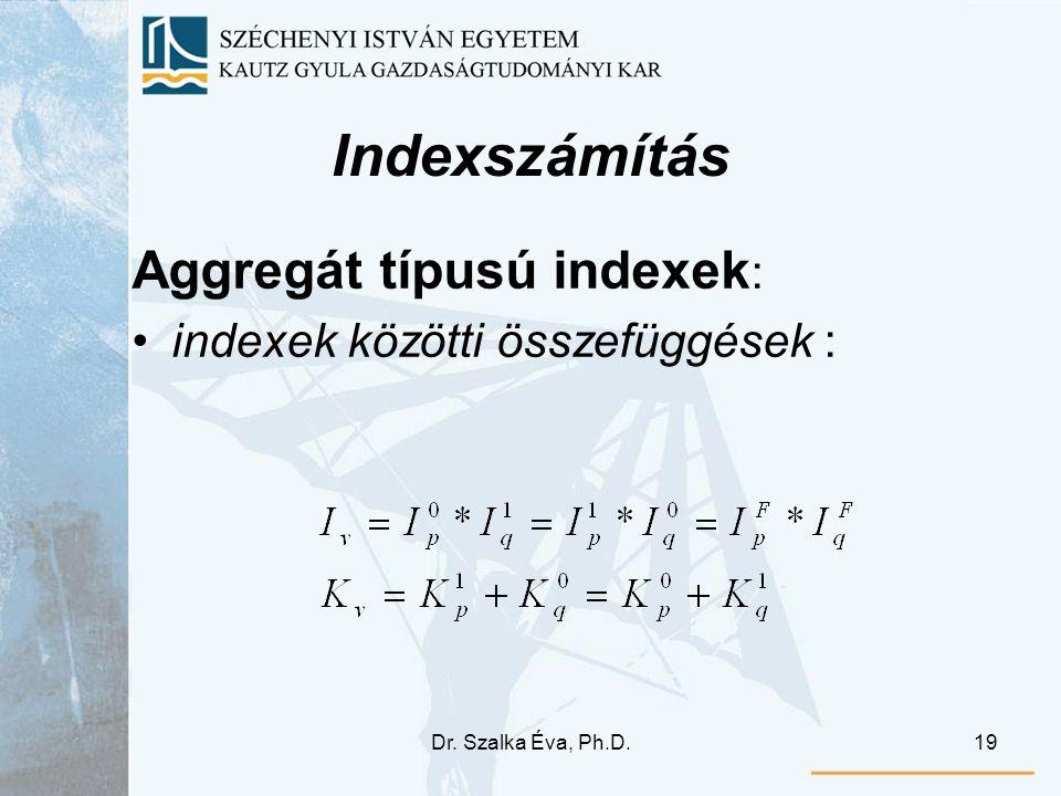 Dr. Szalka Éva, Ph.D.19 Indexszámítás Aggregát típusú indexek : indexek közötti összefüggések :