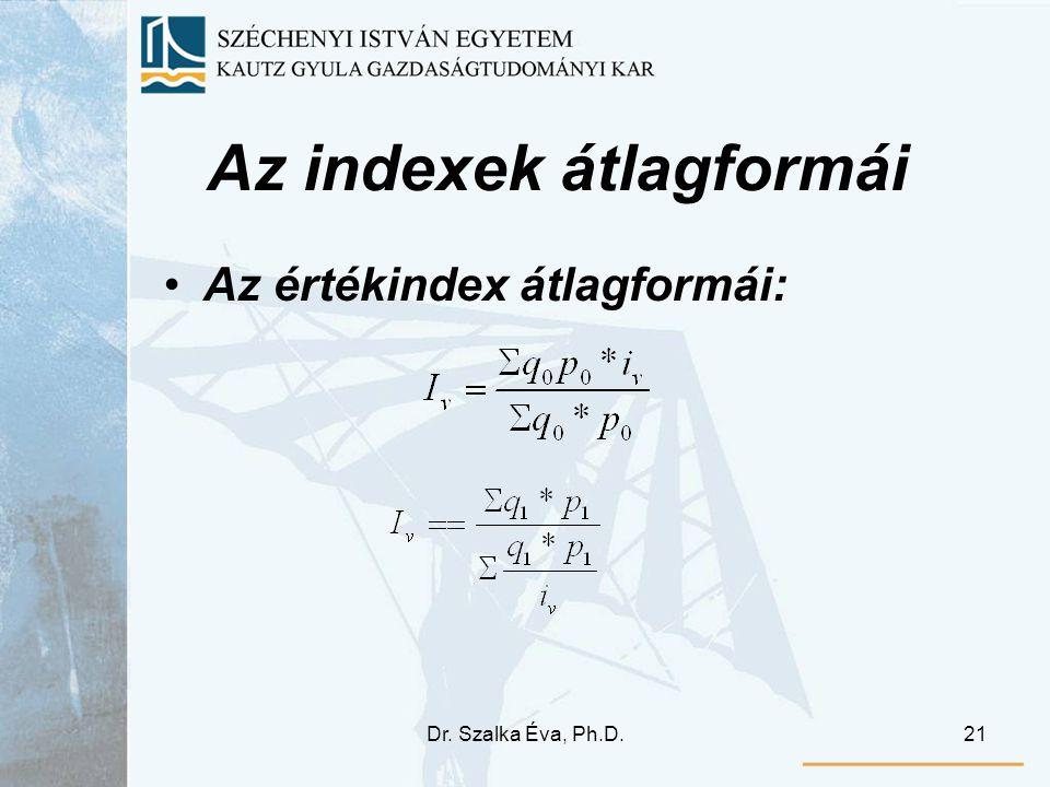Dr. Szalka Éva, Ph.D.21 Az indexek átlagformái Az értékindex átlagformái: