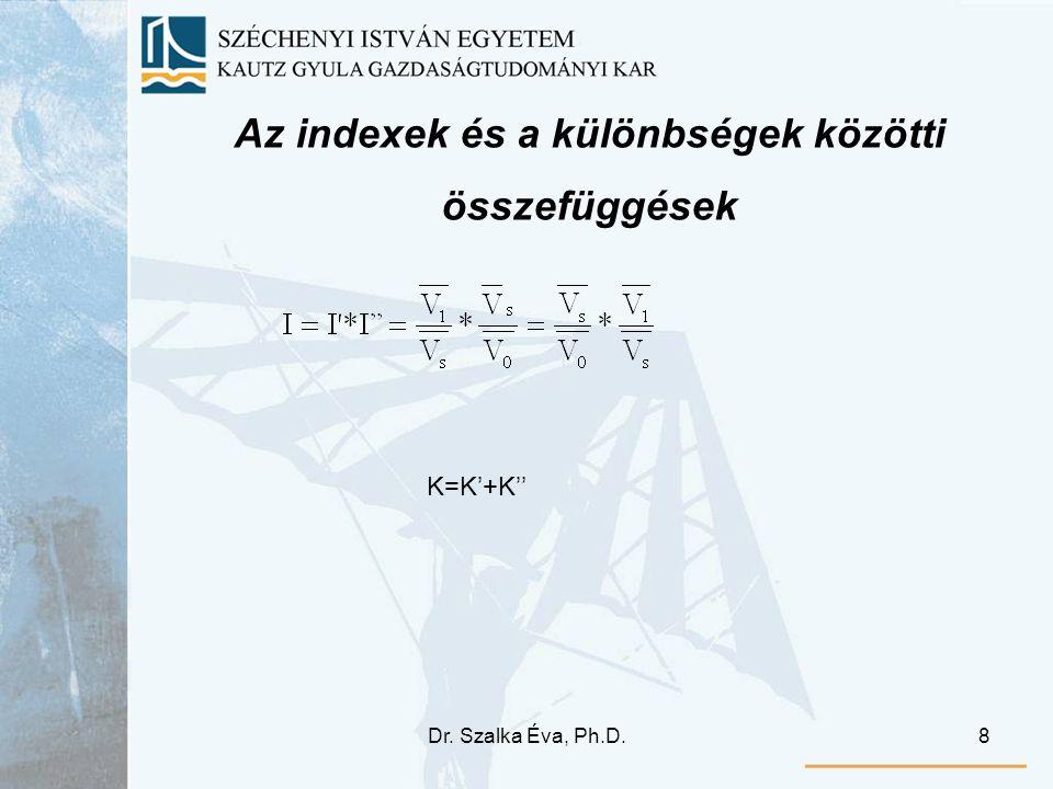 Dr. Szalka Éva, Ph.D.8 Az indexek és a különbségek közötti összefüggések K=K'+K''