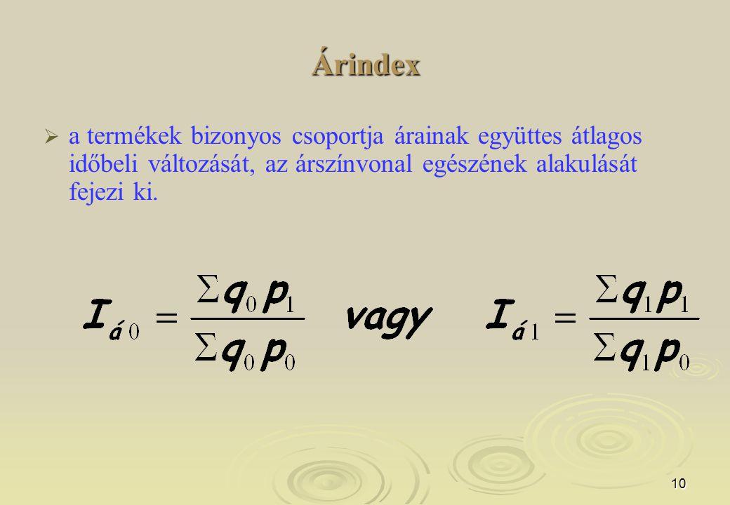 10 Árindex   a termékek bizonyos csoportja árainak együttes átlagos időbeli változását, az árszínvonal egészének alakulását fejezi ki.