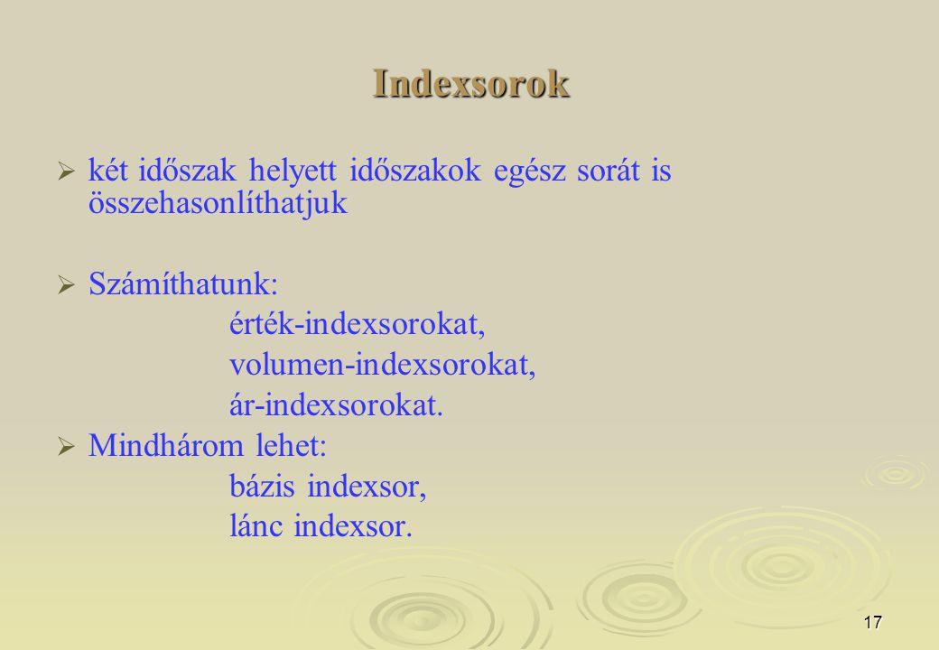 17 Indexsorok   két időszak helyett időszakok egész sorát is összehasonlíthatjuk   Számíthatunk: érték-indexsorokat, volumen-indexsorokat, ár-inde