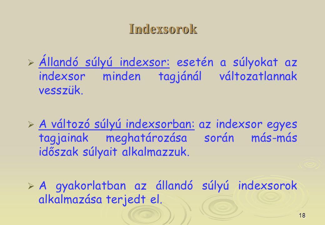 18 Indexsorok   Állandó súlyú indexsor: esetén a súlyokat az indexsor minden tagjánál változatlannak vesszük.   A változó súlyú indexsorban: az in