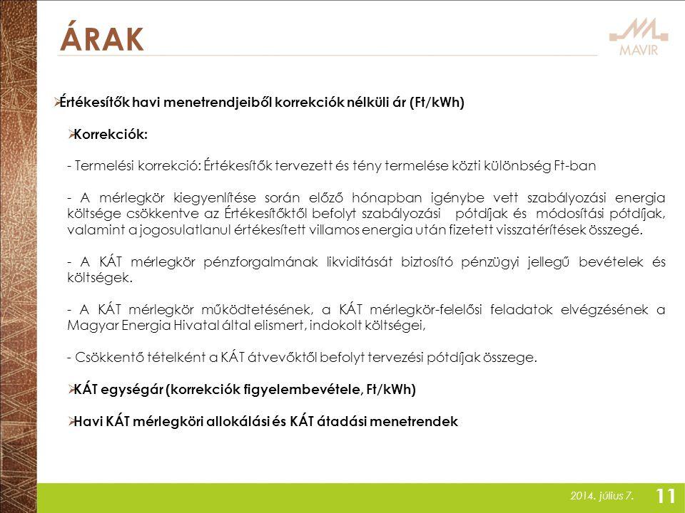 2014. július 7. ÁRAK  Értékesítők havi menetrendjeiből korrekciók nélküli ár (Ft/kWh)  Korrekciók: - Termelési korrekció: Értékesítők tervezett és t