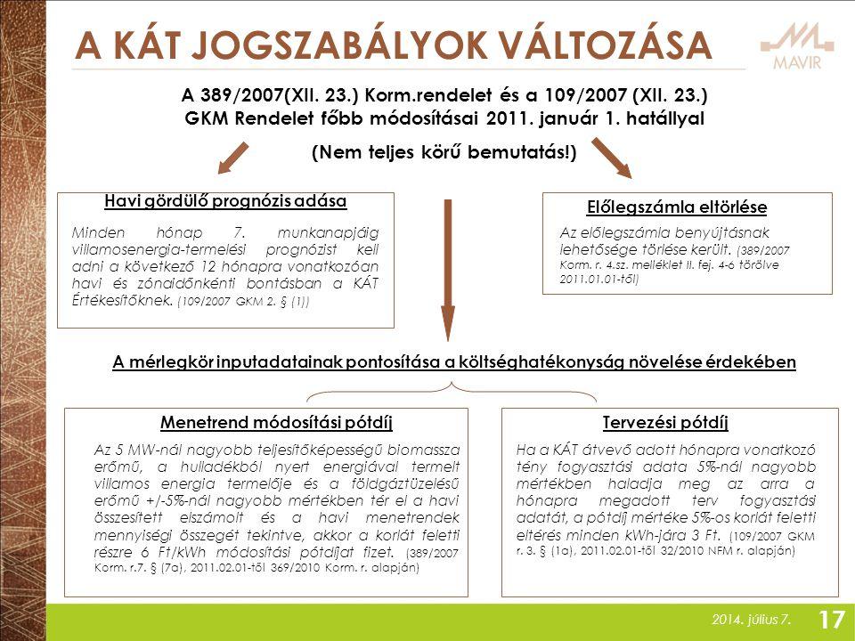 2014. július 7. A KÁT JOGSZABÁLYOK VÁLTOZÁSA Havi gördülő prognózis adása A 389/2007(XII. 23.) Korm.rendelet és a 109/2007 (XII. 23.) GKM Rendelet főb