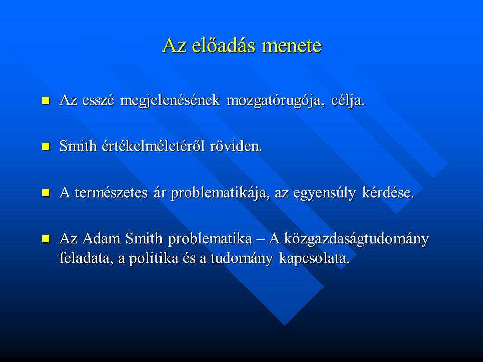 Az előadás menete Az esszé megjelenésének mozgatórugója, célja. Az esszé megjelenésének mozgatórugója, célja. Smith értékelméletéről röviden. Smith ér