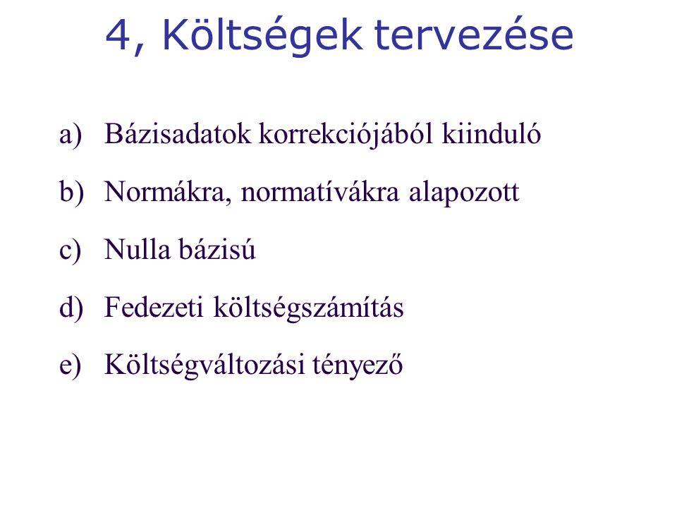 4, Költségek tervezése a)Bázisadatok korrekciójából kiinduló b)Normákra, normatívákra alapozott c)Nulla bázisú d)Fedezeti költségszámítás e)Költségváltozási tényező