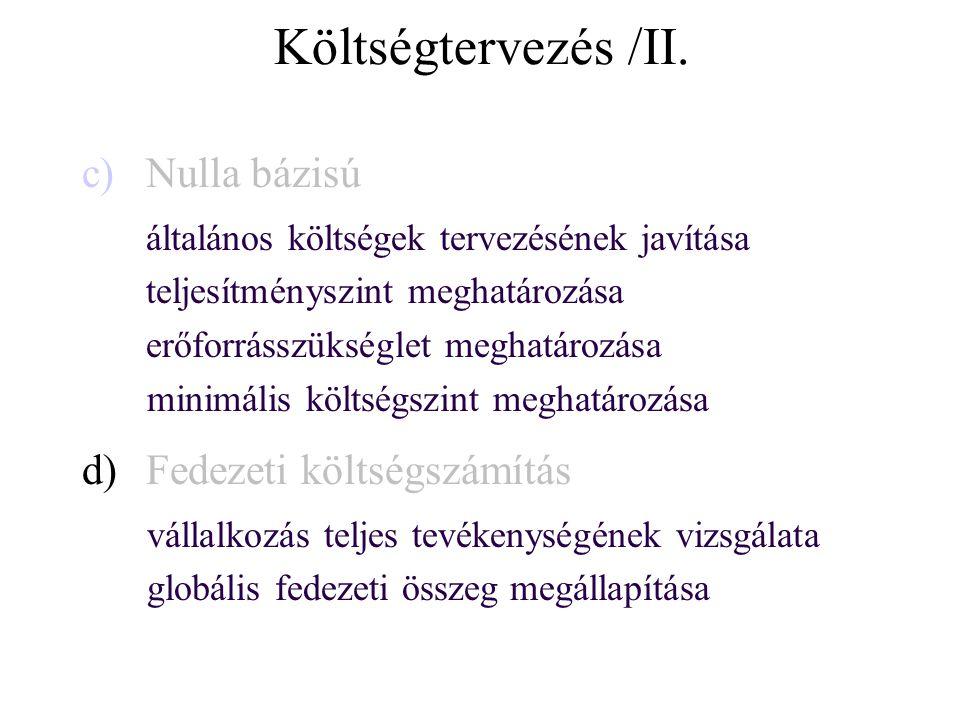 Költségtervezés /II.