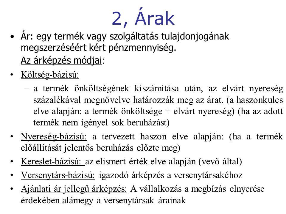 2, Árak Ár: egy termék vagy szolgáltatás tulajdonjogának megszerzéséért kért pénzmennyiség.