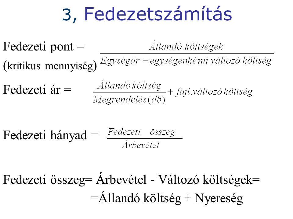 3, Fedezetszámítás Fedezeti pont = ( kritikus mennyiség ) Fedezeti ár = Fedezeti hányad = Fedezeti összeg= Árbevétel - Változó költségek= =Állandó költség + Nyereség