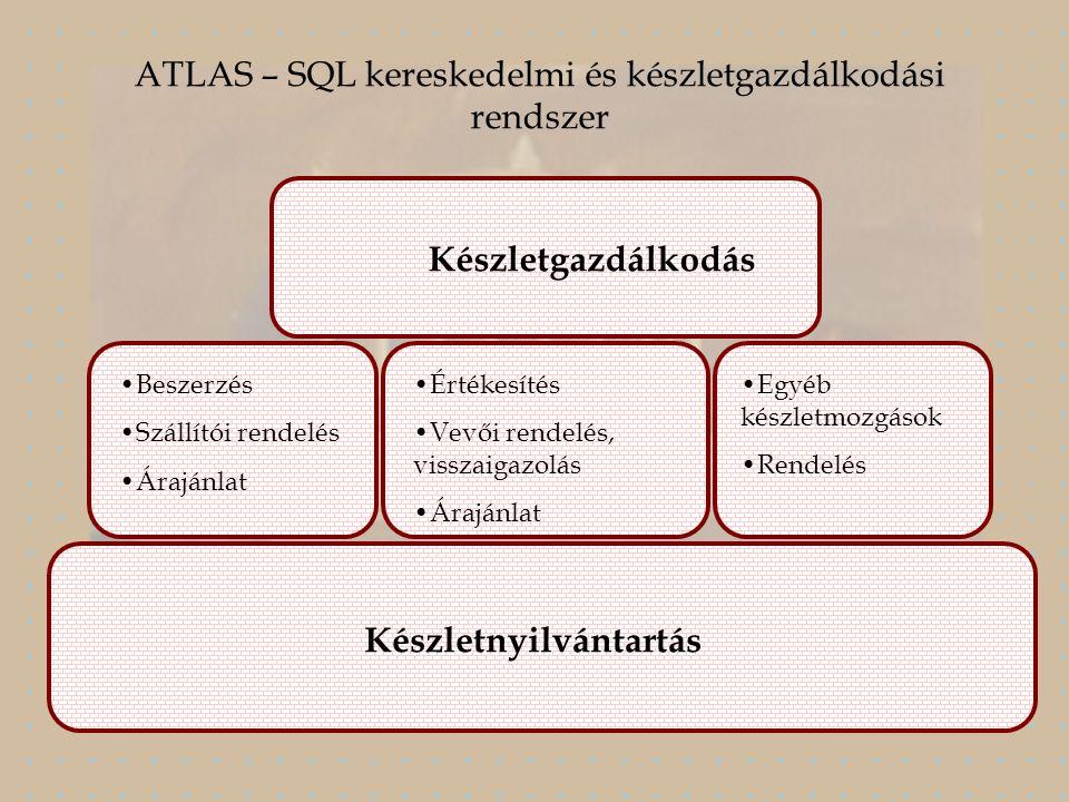 Készletgazdálkodás Beszerzés Szállítói rendelés Árajánlat Értékesítés Vevői rendelés, visszaigazolás Árajánlat Egyéb készletmozgások Rendelés Készletnyilvántartás ATLAS – SQL kereskedelmi és készletgazdálkodási rendszer