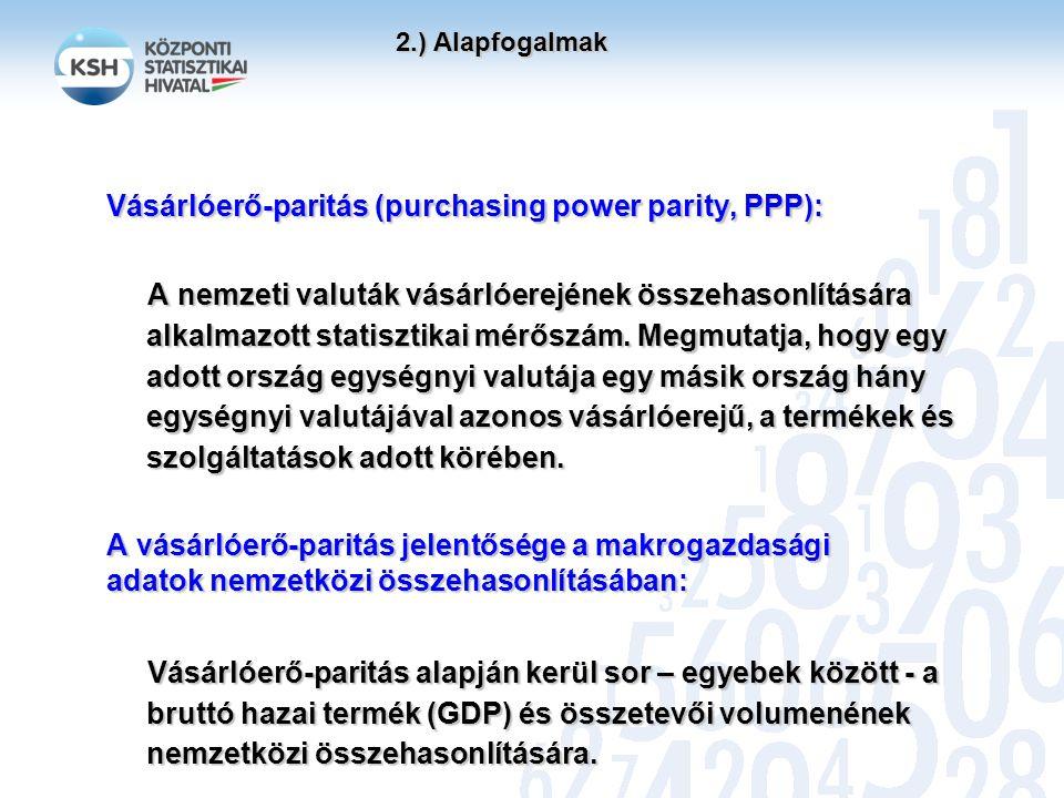 2.) Alapfogalmak 2.) Alapfogalmak Vásárlóerő-paritás (purchasing power parity, PPP): A nemzeti valuták vásárlóerejének összehasonlítására alkalmazott statisztikai mérőszám.