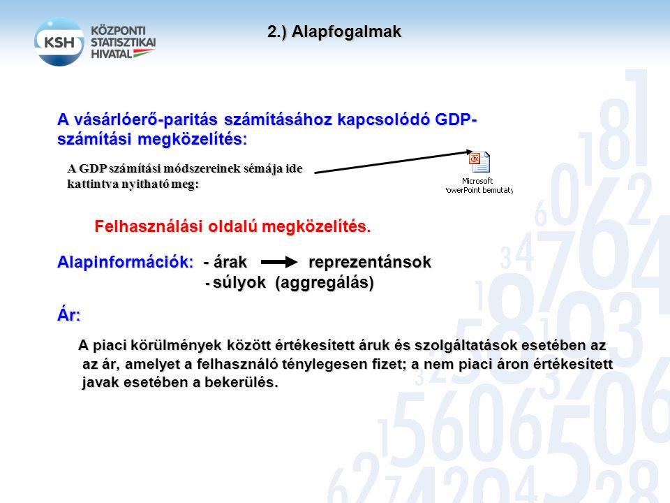 2.) Alapfogalmak 2.) Alapfogalmak Alapcsoportok (basic headings): A GDP felhasználási (fogyasztási, felhalmozási stb.) aggregátumain belül képzett részsokaságok, amelyekben a termékek, szolgáltatások rendeltetés szerint többé- kevésbé homogén csoportot alkotnak.