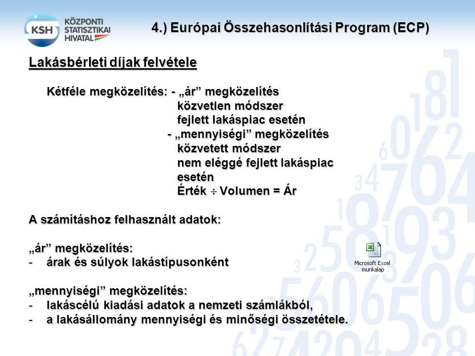 """4.) Európai Összehasonlítási Program (ECP) Lakásbérleti díjak felvétele Kétféle megközelítés: - """"ár megközelítés közvetlen módszer közvetlen módszer fejlett lakáspiac esetén fejlett lakáspiac esetén - """"mennyiségi megközelítés - """"mennyiségi megközelítés közvetett módszer közvetett módszer nem eléggé fejlett lakáspiac nem eléggé fejlett lakáspiac esetén esetén Érték  Volumen = Ár Érték  Volumen = Ár A számításhoz felhasznált adatok: """"ár megközelítés: -árak és súlyok lakástípusonként """"mennyiségi megközelítés: -lakáscélú kiadási adatok a nemzeti számlákból, -a lakásállomány mennyiségi és minőségi összetétele."""