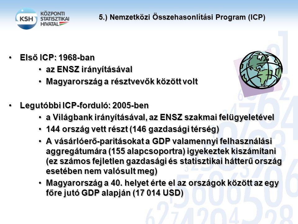 5.) Nemzetközi Összehasonlítási Program (ICP) Első ICP: 1968-banElső ICP: 1968-ban az ENSZ irányításávalaz ENSZ irányításával Magyarország a résztvevők között voltMagyarország a résztvevők között volt Legutóbbi ICP-forduló: 2005-benLegutóbbi ICP-forduló: 2005-ben a Világbank irányításával, az ENSZ szakmai felügyeletévela Világbank irányításával, az ENSZ szakmai felügyeletével 144 ország vett részt (146 gazdasági térség)144 ország vett részt (146 gazdasági térség) A vásárlóerő-paritásokat a GDP valamennyi felhasználási aggregátumára (155 alapcsoportra) igyekeztek kiszámítani (ez számos fejletlen gazdasági és statisztikai hátterű ország esetében nem valósult meg)A vásárlóerő-paritásokat a GDP valamennyi felhasználási aggregátumára (155 alapcsoportra) igyekeztek kiszámítani (ez számos fejletlen gazdasági és statisztikai hátterű ország esetében nem valósult meg) Magyarország a 40.
