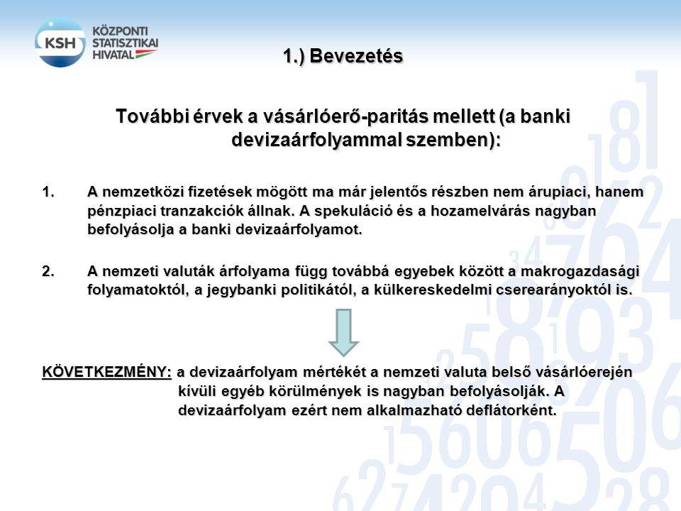 1.) Bevezetés 1.) Bevezetés Bécsben: 3,20 EUR Budapesten: 760 Ft Vásárlóerő-paritás 1 db termék (hamburger) esetén: 237,50 Ft/EUR Devizaárfolyam: 310,45 Ft/EUR