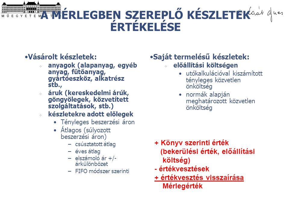 © A MÉRLEGBEN SZEREPLŐ KÉSZLETEK ÉRTÉKELÉSE Vásárolt készletek:  anyagok (alapanyag, egyéb anyag, fűtőanyag, gyártóeszköz, alkatrész stb.,  áruk (kereskedelmi árúk, göngyölegek, közvetített szolgáltatások, stb.)  készletekre adott előlegek Tényleges beszerzési áron Átlagos (súlyozott beszerzési áron) –csúsztatott átlag –éves átlag –elszámoló ár +/- árkülönbözet –FIFO módszer szerinti Saját termelésű készletek:  előállítási költségen utókalkulációval kiszámított tényleges közvetlen önköltség normák alapján meghatározott közvetlen önköltség + Könyv szerinti érték (bekerülési érték, előállítási költség) - értékvesztések + értékvesztés visszaírása Mérlegérték