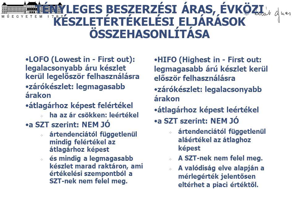 © TÉNYLEGES BESZERZÉSI ÁRAS, ÉVKÖZI KÉSZLETÉRTÉKELÉSI ELJÁRÁSOK ÖSSZEHASONLÍTÁSA LOFO (Lowest in - First out): legalacsonyabb áru készlet kerül legelő