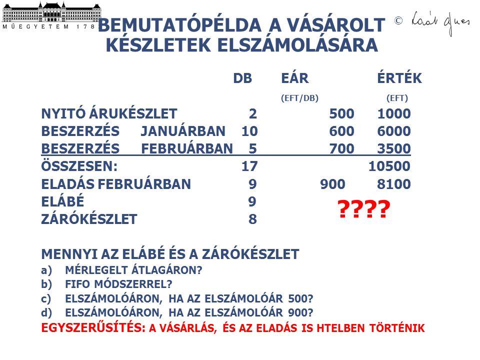 © BEMUTATÓPÉLDA A VÁSÁROLT KÉSZLETEK ELSZÁMOLÁSÁRA DBEÁR ÉRTÉK (EFT/DB) (EFT) NYITÓ ÁRUKÉSZLET 25001000 BESZERZÉS JANUÁRBAN 106006000 BESZERZÉS FEBRUÁRBAN 57003500 ÖSSZESEN: 17 10500 ELADÁS FEBRUÁRBAN 9 900 8100 ELÁBÉ 9 ZÁRÓKÉSZLET 8 MENNYI AZ ELÁBÉ ÉS A ZÁRÓKÉSZLET a)MÉRLEGELT ÁTLAGÁRON.