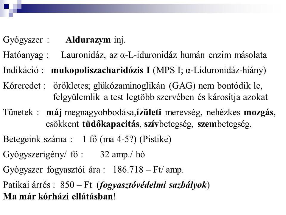 Gyógyszer : Aldurazym inj. Hatóanyag : Lauronidáz, az α-L-iduronidáz humán enzim másolata Indikáció : mukopoliszacharidózis I (MPS I; α-Liduronidáz-hi