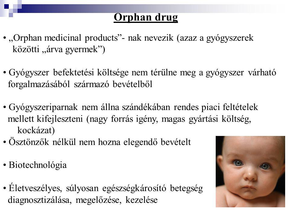 """Orphan drug """"Orphan medicinal products""""- nak nevezik (azaz a gyógyszerek közötti """"árva gyermek"""") Gyógyszer befektetési költsége nem térülne meg a gyóg"""