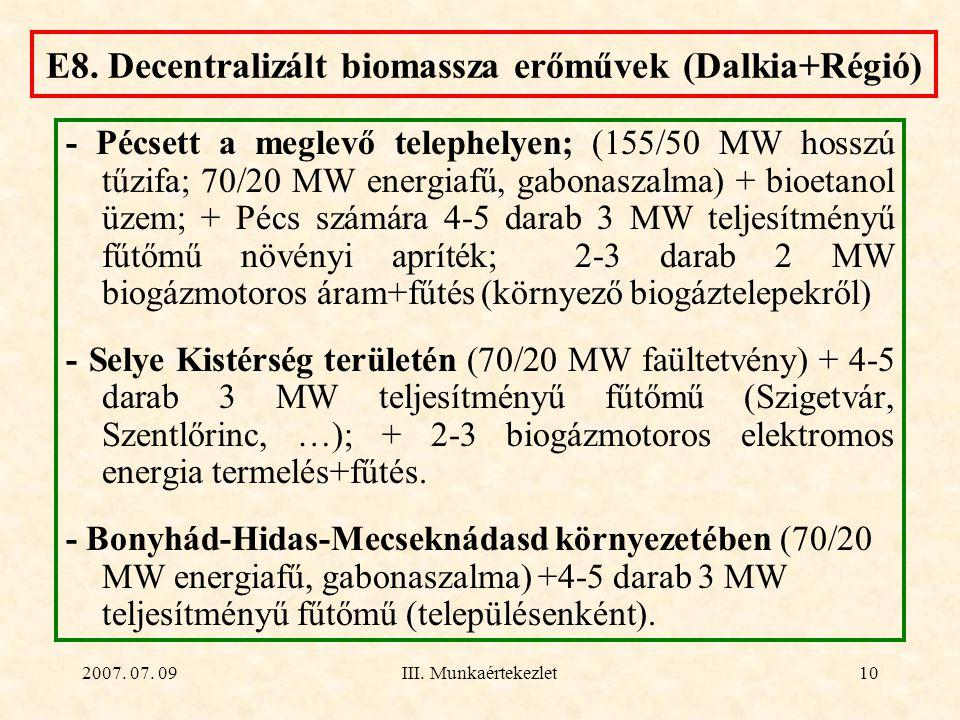 2007. 07. 09III. Munkaértekezlet10 E8. Decentralizált biomassza erőművek (Dalkia+Régió) - Pécsett a meglevő telephelyen; (155/50 MW hosszú tűzifa; 70/