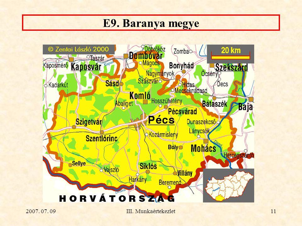 2007. 07. 09III. Munkaértekezlet11 E9. Baranya megye