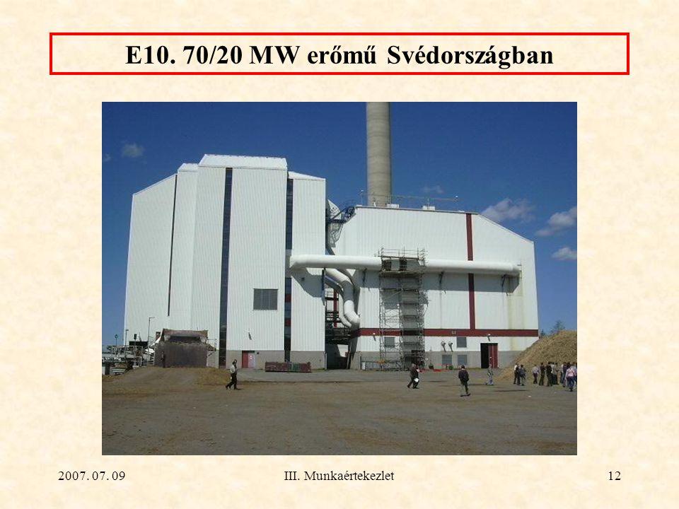 2007. 07. 09III. Munkaértekezlet12 E10. 70/20 MW erőmű Svédországban