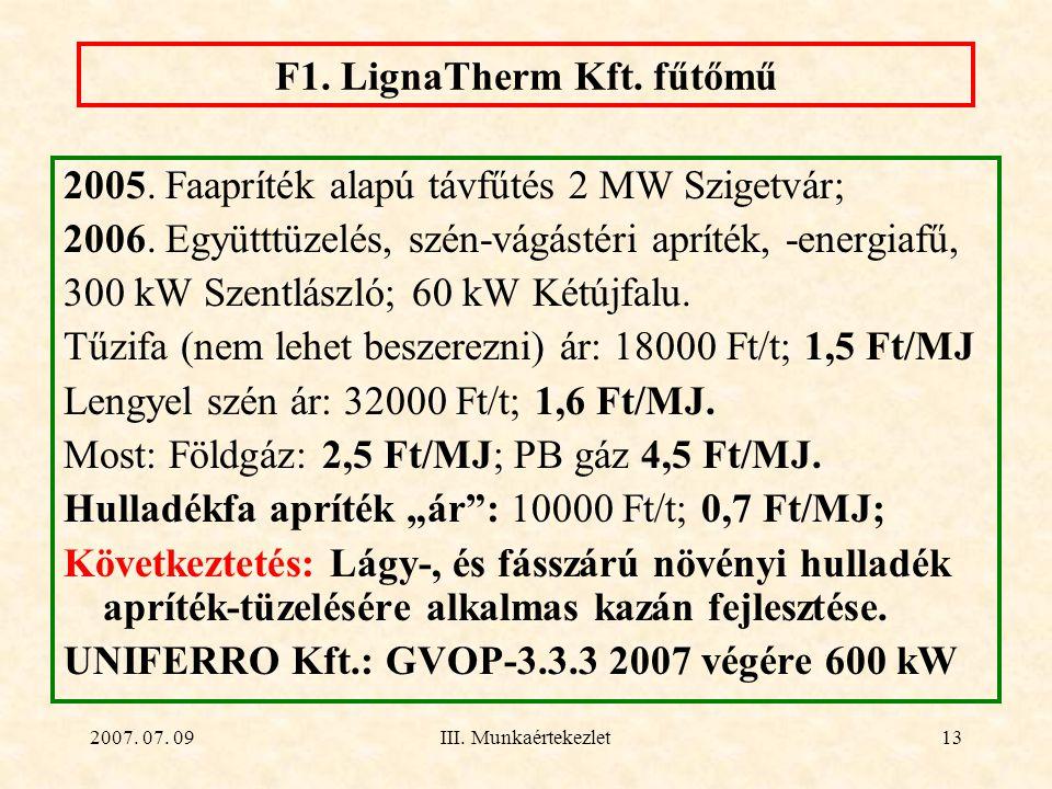 2007. 07. 09III. Munkaértekezlet13 F1. LignaTherm Kft. fűtőmű 2005. Faapríték alapú távfűtés 2 MW Szigetvár; 2006. Együtttüzelés, szén-vágástéri aprít