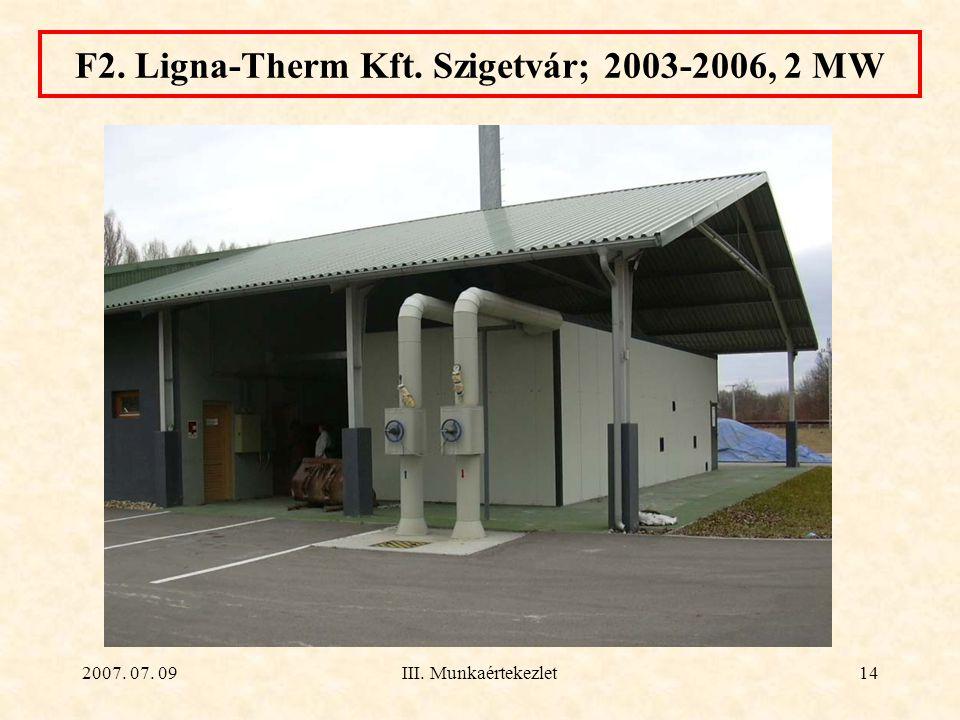 2007. 07. 09III. Munkaértekezlet14 F2. Ligna-Therm Kft. Szigetvár; 2003-2006, 2 MW